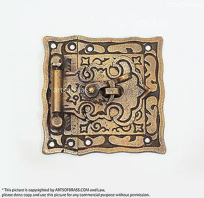 """3.07"""" inches Vintage Victorian Classic Carved Box LATCH Hook Slot Brass Lock"""