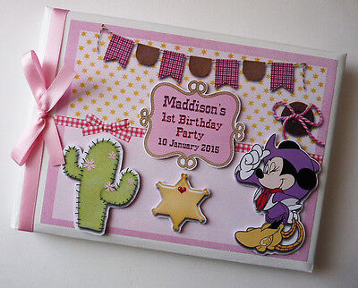 Personalised Cowgirl Minnie Boy/girl /first/1St Birthday Guest Book Any Design