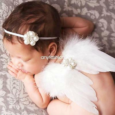 Baby Girl Newborn Headband+Feather Wing Set Photography Props Clothes Perfect