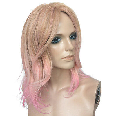 Women's Party Wig Ombre Blonde Mix Pink Heat Resistant Short Bob Wavy Curly Wig