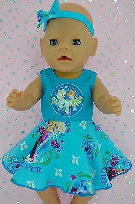 """Play n Wear Doll Clothes To Fit 17"""" Baby Born TURQUOISE CIRCLE DRESS~HEADBAND"""