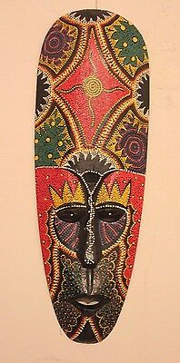 Hand Carved Special Dot Pained Aboriginal Lombok Mask Bright Colors 500Mm