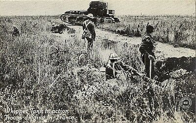 WWI Era US Postcard- Army- Tank- Whippet Tank in Action- Trench- France- 1917-18