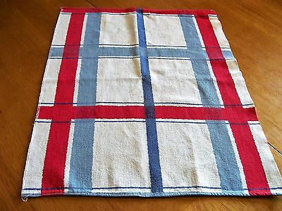 Antique Hand Towel, Woven Sturdy Sailcloth White with Red & Blue Stripes 17x22