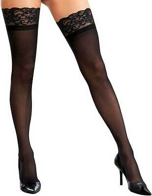 Sheer Lace Top Thigh High Stockings Highs Hosiery Women Plus Size Black