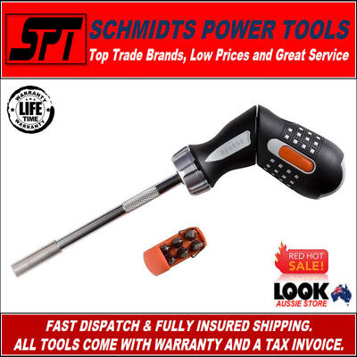 Bahco Ratcheting Screwdriver With Pistol Grip & Driver Bits 808050P - Brand New