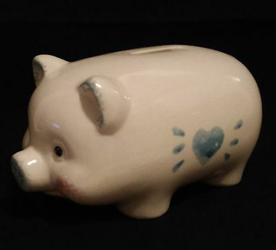 Small Ceramic Piggy Bank - White With Blue Sponged Heart