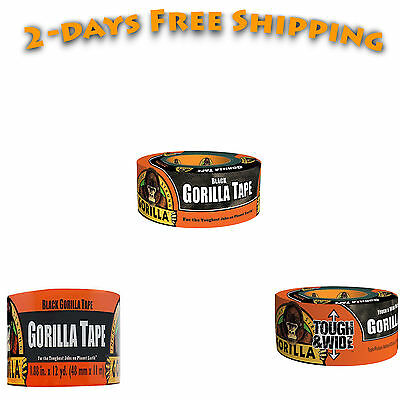 """Duct Tape Waterproof Adhesive Sticky 1.88"""" x 12 yd Roll Black Gorilla NEW"""