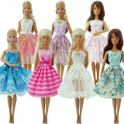 10Pcs Handmade Party Mini Gown Clothes For Barbie Doll Random Children Gift