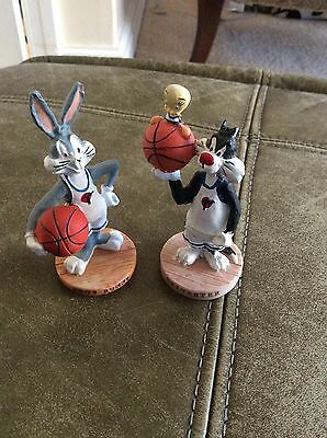 Bugs Bunny, Sylvester With Tweety Pie Resin Basketball Figures 1996 Warner Bros