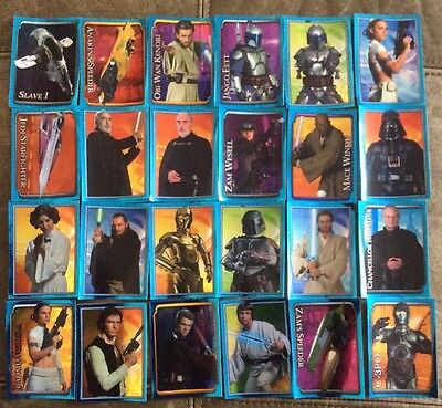 24 Star Wars Attack Of The Clones Stickers Obi-wan Anakin Mace Windu Jango Fett
