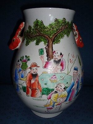 Antique Large  Chinese Famille Rose hand painted Porcelain vase{Marked}