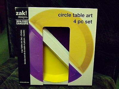 ZAK Designs 4-piece Multi-Color Serving Dishes CIRCLE TABLE ART FREE SHIP