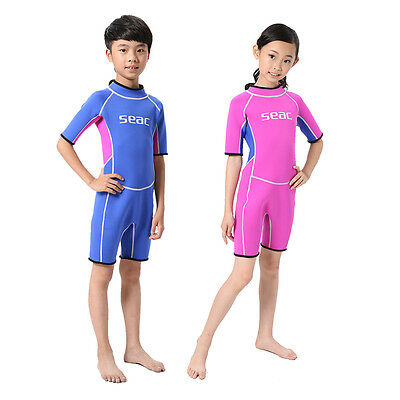 Kids 2mm Shorty Spring Wetsuit Boys Girls Scuba Dive Suit Surfing Swimming