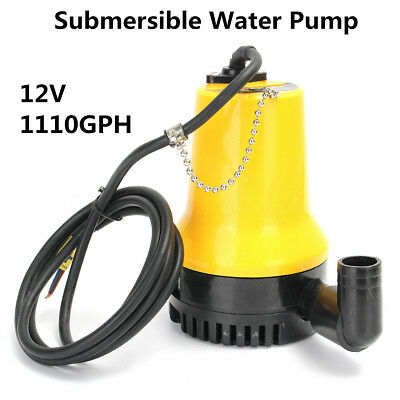 12V 1110GPH 1585L/H Submersible Water Pump Clean Clear Dirty Pool Pond Flood