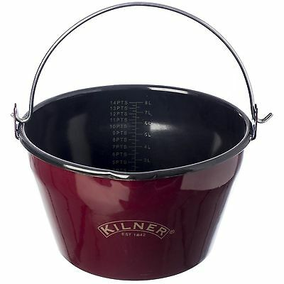 NEW Kilner Quality Enamel Jam Pan With Pouring Lip Durable Carbon Steel 8 Litres