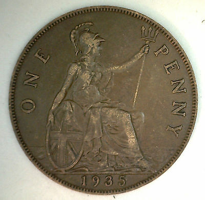 1935 Bronze One Pence UK One Penny Great Britain Coin XF