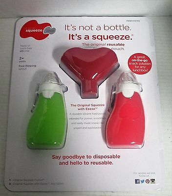 2 Original Squeeze 4 fl oz Pouches with Free Flowing Eeeze Spout Squeeze Funnel
