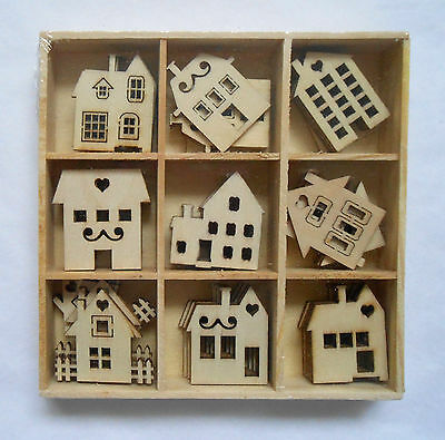 Box of 45 Assorted Mini Wooden HOUSES Shapes Craft Embellishments