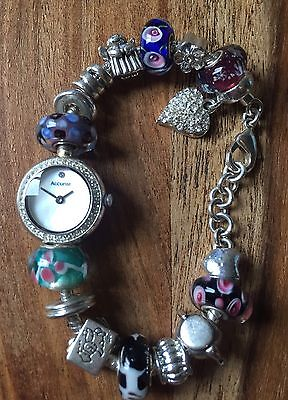 Accurist Mother Of Pearl Bracelet Watch With Assorted Charms- QUICK DELIVERY
