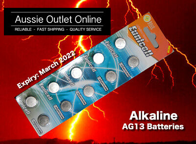 10pcs AG13/LR44/357 Button Cell Eunicell Alkaline Batteries 1.55V - Stock in AU