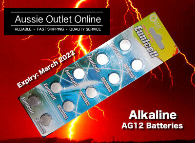 10x AG12/LR43/386A Button Cell Eunicell Alkaline Battery 1.55V - Stock in AU