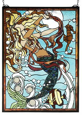 ENCHANTED MERMAID STAINED GLASS WINDOW PANEL * Under the Sea Angel fish Seahorse
