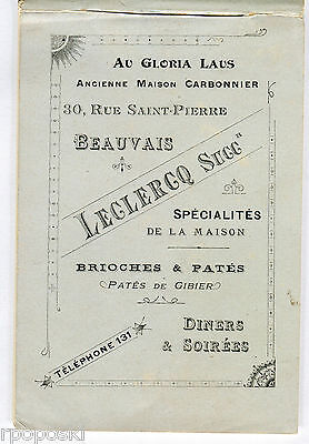 Small Antique Cookery Booklet In French Maison Carbonnier Dejeuners & Diners