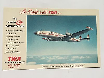 TWA Airlines issued super G constellation postcard
