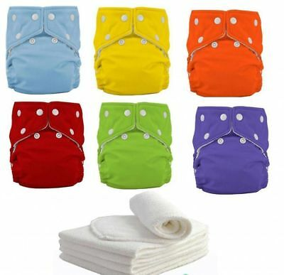 10pcs+ 10INSERTS Adjustable Reusable Lot Baby Washable Cloth Diaper Nappies