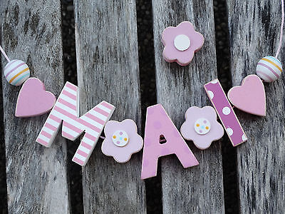 """mai"" Shabby Wooden Letters Door Name Decoration Nursery Playroom Baby Shower"