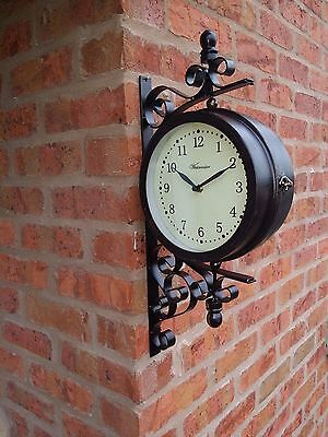 Outdoor Garden large wall steam punk  Station Clock & Temperature, swivels 49cm