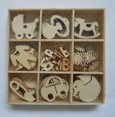 Box of 45 Assorted Mini Wooden BABY Shapes Craft Embellishments