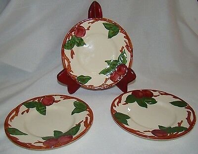 3 Franciscan Apple BREAD PLATES - FLYING F ENGLAND - 6 1/4  EXCELLENT CONDITION