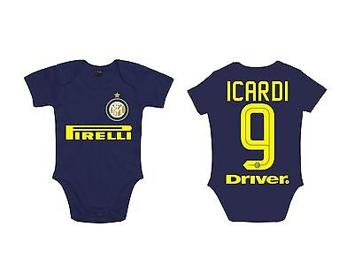 BODY NEONATO BABY INTER 16-17 ICARDI BODYSUIT INFANT NEWBORN NAME blue