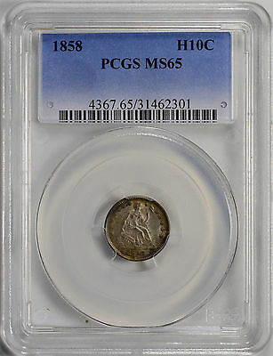 1858 H10C Liberty Seated Half Dime PCGS MS65