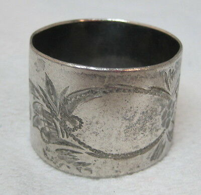 Antique Silverplate Napkin Ring Floral Etched Scroll Design Nice Shape T73