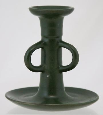 "MARBLEHEAD POTTERY 5"" x 5"" ARTS & CRAFTS CANDLEHOLDER IN MATTE GREEN GLAZE MINT"