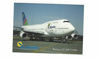 Air Namibia airlines issued Boeing 747-400 Combi   cont/l postcard
