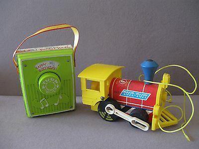 Two Vtg. Fisher-Price Toys Pocket Radio & Toot Toot Engine 1964 - 1971