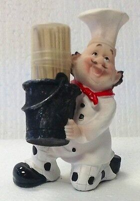 Set Fat Italian chef Toothpick Dispenser holder Bistro cooking.