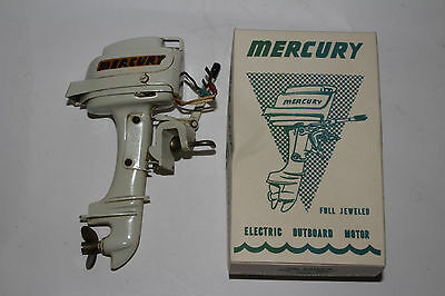 1950's Fleet Line Battery Operated Mercury Toy Boat Motor Nice with Original Box
