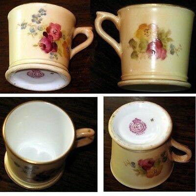 Antique : Royal Worcester bone china miniature Cup with hand painted flora