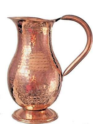 Pure Copper Jug (inside/ out) Water Pitcher 50 oz Ayurveda Yoga Health 100% New