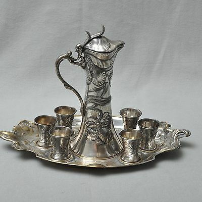 WMF Art nouveau Liqueur set / Carafe and Cups on Tray, blumenmuster, no. 168