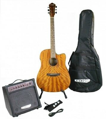 Keytone Western Guitar Set Deluxe Mahogany & Amplifier And Accessories