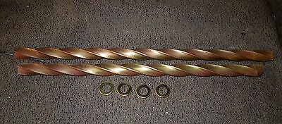 2 Pieces Of Deep Twist Solid Brass Tubing & 4 Check Rings   #183