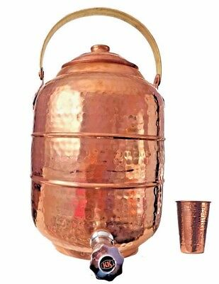 Copper 1.8 gal. Water Pot Dispenser Storage Tank With Tap Kitchen Benefit Yoga