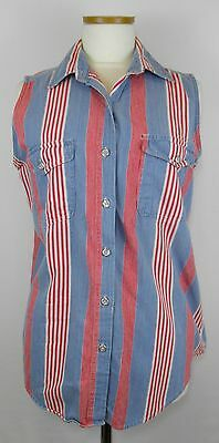 Vintage Women's 100% Cotton Blue / Red Top Pearl Style Buttons Size Medium