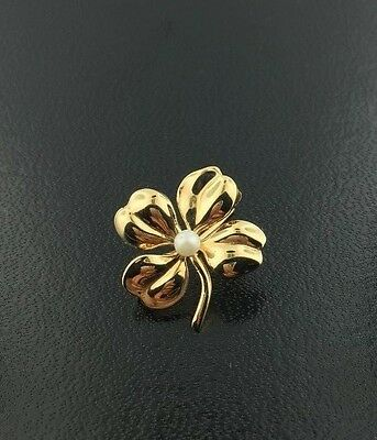 14k yellow gold & cultured peal Four Leaf Clover pin